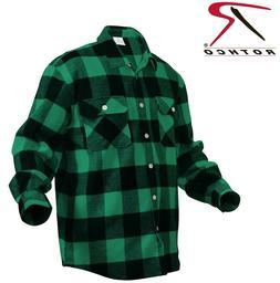 Green Plaid Heavyweight Brawny Buffalo Plaid Flannel Shirt R