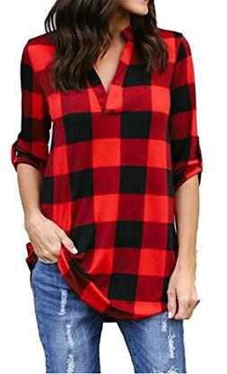 Fulok Womens Half Sleeve Cotton Plaid V Neck Comfy Long Tops