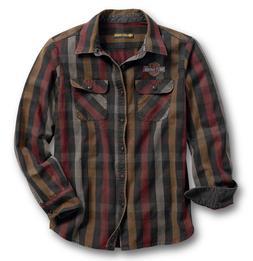 Harley-Davidson Men's Logo Over-Dyed Plaid Slim Fit Shirt -