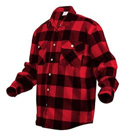 Rothco Heavy Weight Plaid Flannel Shirt, 4X, Red/Black