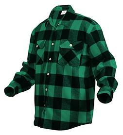 Green and Black Extra Heavyweight Brawny Flannel Shirt - X-L