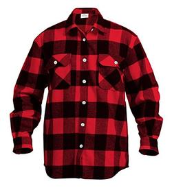 Rothco Heavy Weight Plaid Flannel Shirt, Red, Large