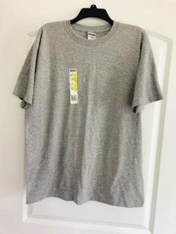 Jerzees Heavyweight Blend Solid Gray Unisex T-Shirt Size Lar
