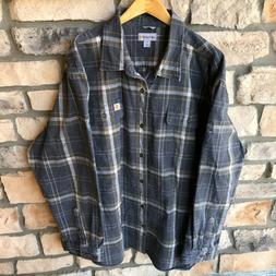Carhartt Heavyweight Flannel Shirt Button Down Plaid Gray Wo