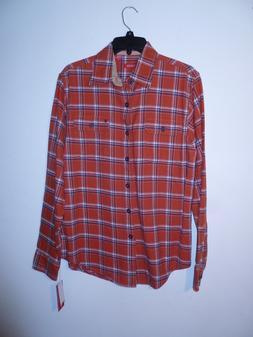 Izod Highland Twill Flannel Shirt Men's S Color Roobios Tea