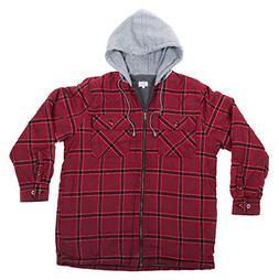 North 15 Men's Hooded Flannel Shirt - Polar Fleece Lining, Z
