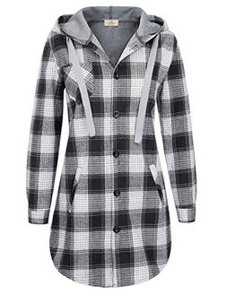 Women Classic Plaid Cotton Hoodie Button-up Flannel Shirts S