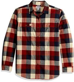Carhartt Men's Hubbard Plaid Flannel Shirt, Navy, Large