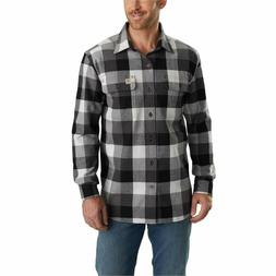 Carhartt Men's Hubbard Plaid Flannel Shirt, Gravel, Small