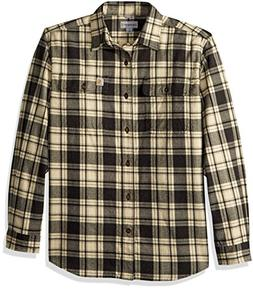 Carhartt Men's Hubbard Plaid Flannel Shirt, Black Heather, S