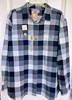 CARHARTT Hubbard  Plaid Flannel Shirt Black Gray XXL 2XL New