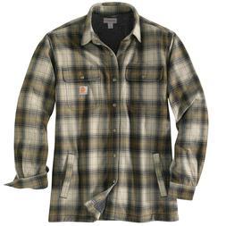Carhartt Hubbard Sherpa-Lined Plaid Flannel Shirt Jac - Oliv