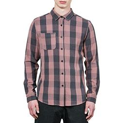 Volcom Men's Invert Check Long Sleeve Flannel Shirt, Dusty B