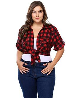Involand Women Plus Size Boyfriend Shirts 3/4 Sleeve Plaid B