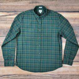 J.Crew Men's XL Slim Fit Flannel Shirt Green Plaid Button Do