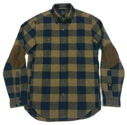 J Crew Mens Elbow Patch Flannel Navy Blue Brown Gingham Buff