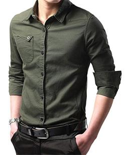 JHVYF Men's Military Casual Cotton Long Sleeve Button Down S