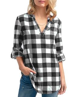 Kyerivs Women's Buffalo Check Plaid Shirts V Neck Roll Up/Lo