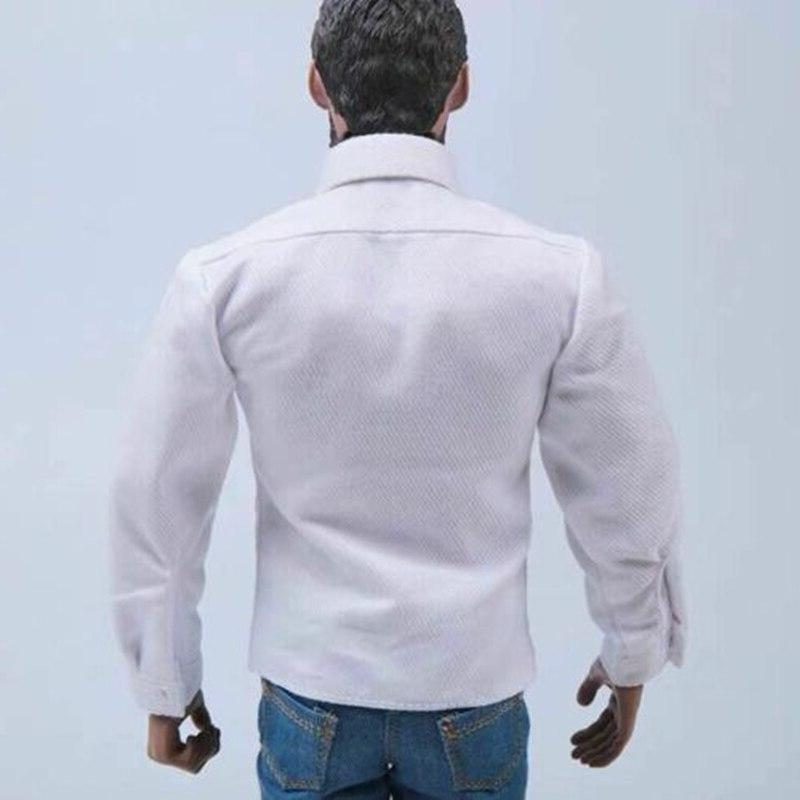 1:6 Scale Long-sleeved <font><b>Shirt</b></font> White Top Male Figure