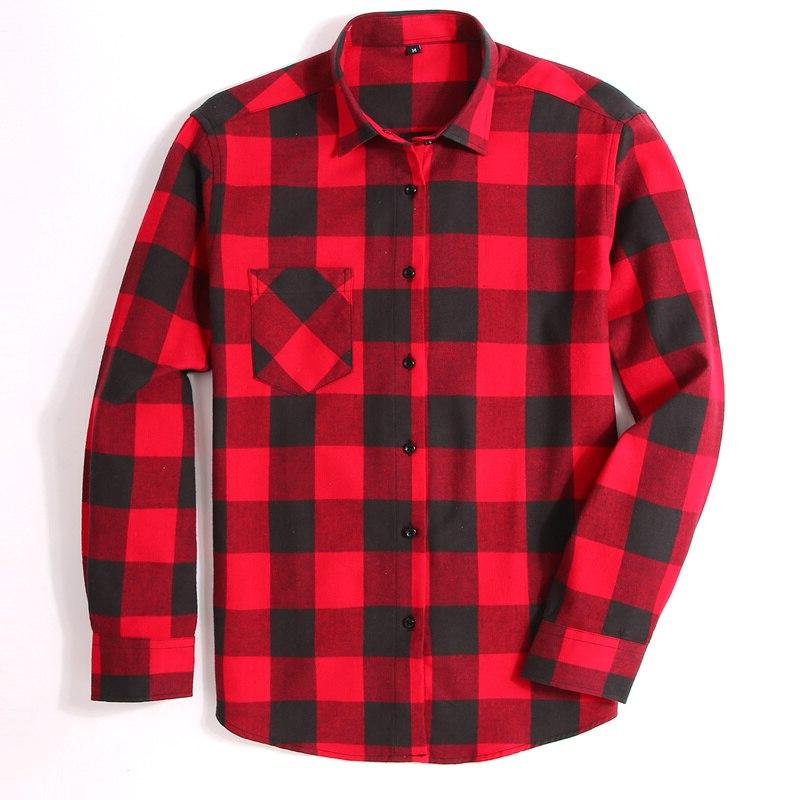 100% Plaid Spring Brand Casual <font><b>Shirts</b></font>