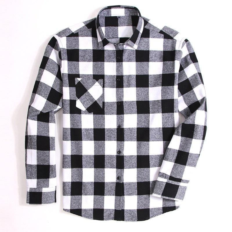 100% Plaid <font><b>Shirt</b></font> Spring Autumn Male Brand Casual Long Soft <font><b>4XL</b></font>