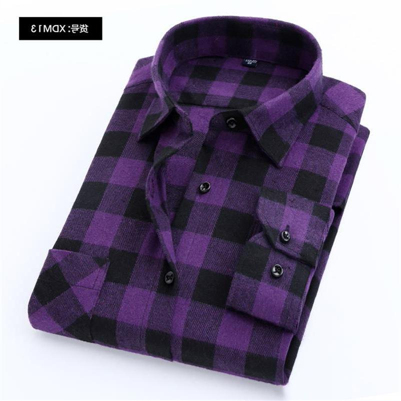 100% Cotton Plaid Fit Spring Autumn Male Casual Sleeved Soft Comfortable <font><b>4XL</b></font>