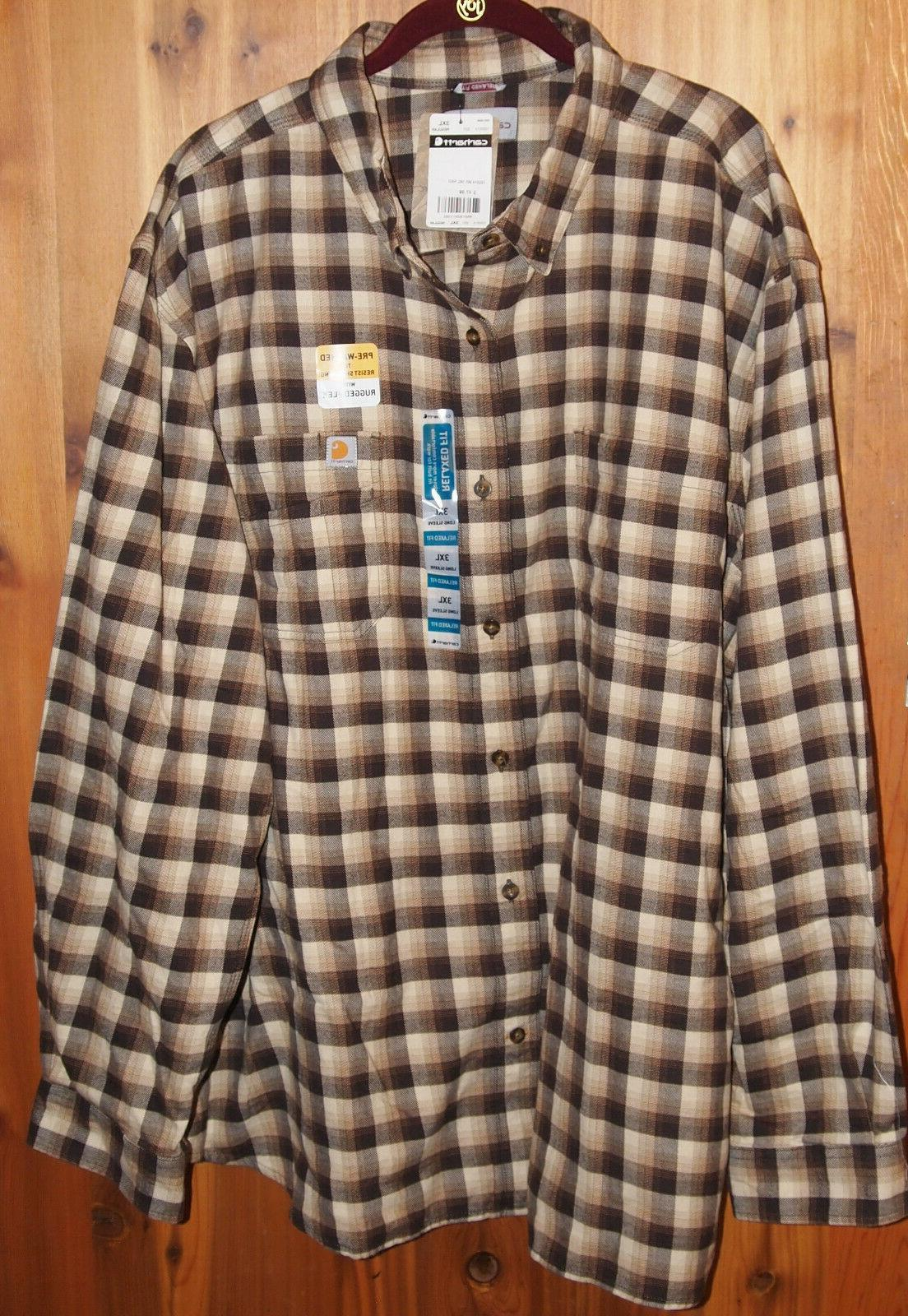 103314 mens rugged flex brown plaid flannel
