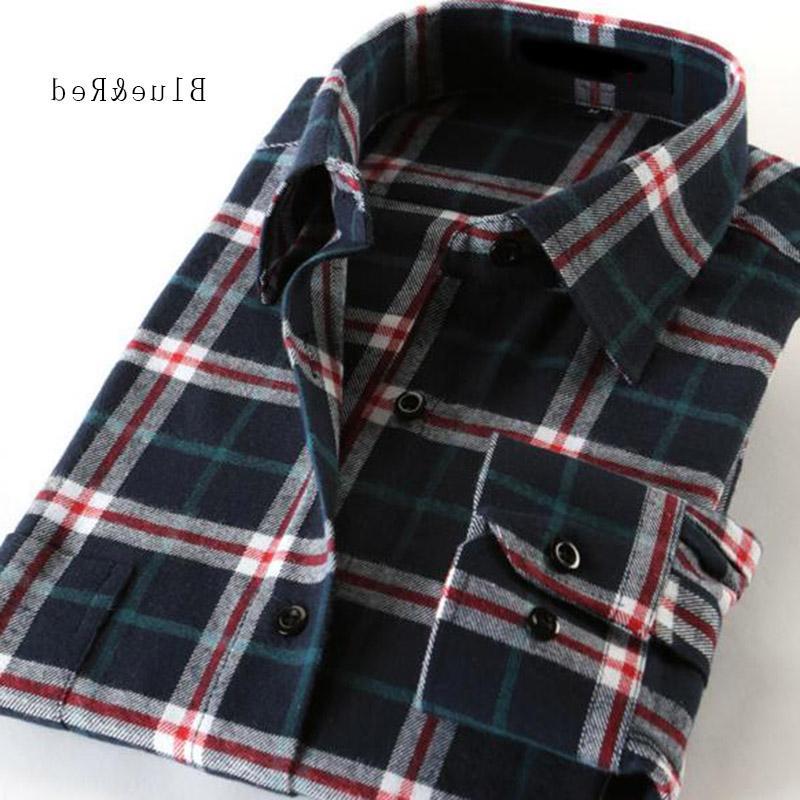 2018 Hot Sale Men Sleeve Warm <font><b>Shirts</b></font>,Plaid <font><b>Flannel</b></font> Cotton <font><b>Shirts</b></font> Camisa
