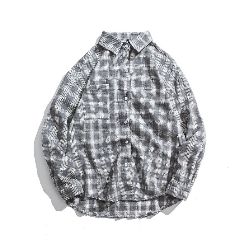 2019 New Cotton Korean Style Clothe Fashion Spring Summer Autumn Slim Fit Plaid <font><b>Men</b></font> <font><b>Shirt</b></font> Long
