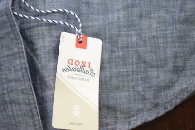 33721 Mens Izod Saltwater Slim Fit Blue Long Dress Shirt XL