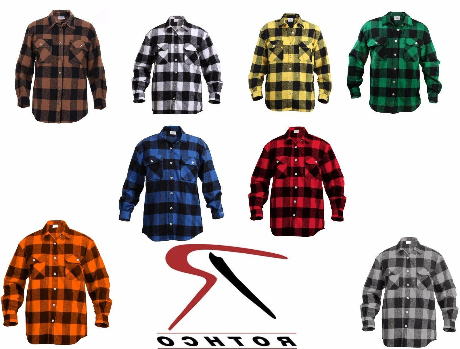 Rothco 4739 Men's Buffalo Plaid Long Sleeve Flannel Heavyweight