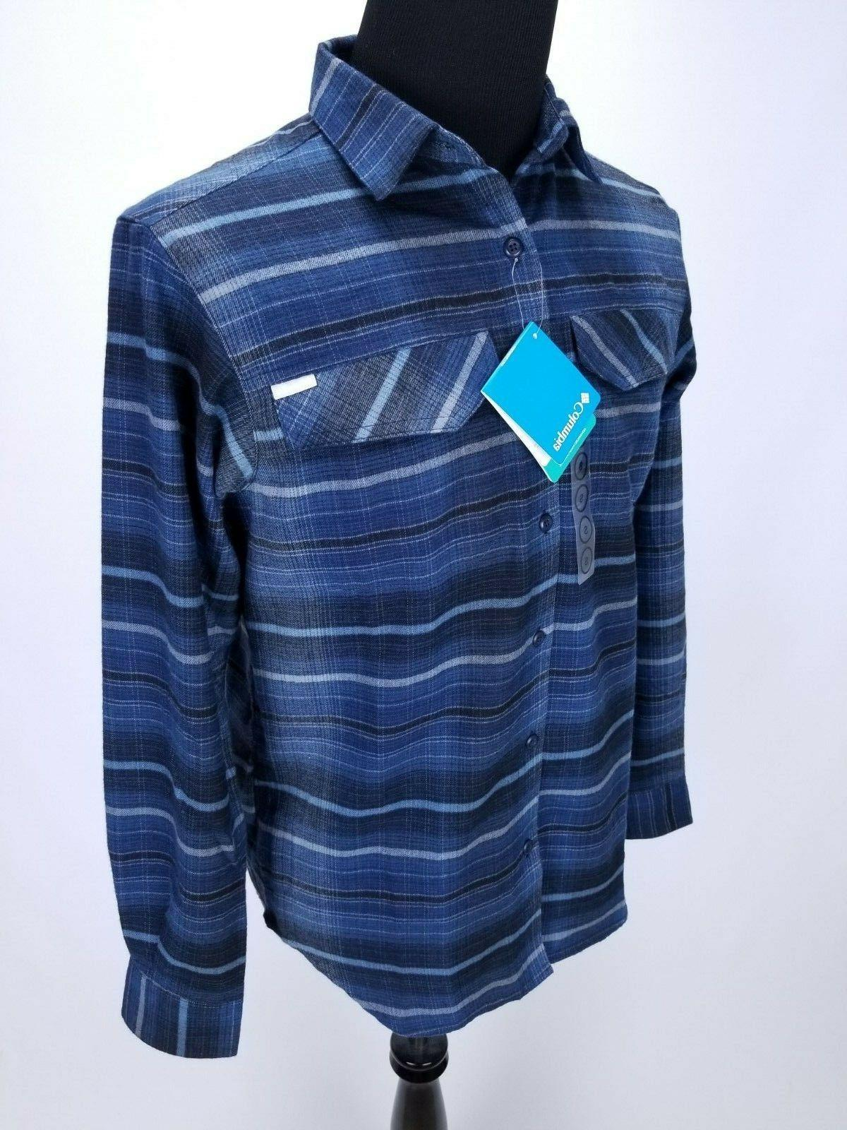 $65 Columbia Flannel Shirt SMALL Front LS Striped