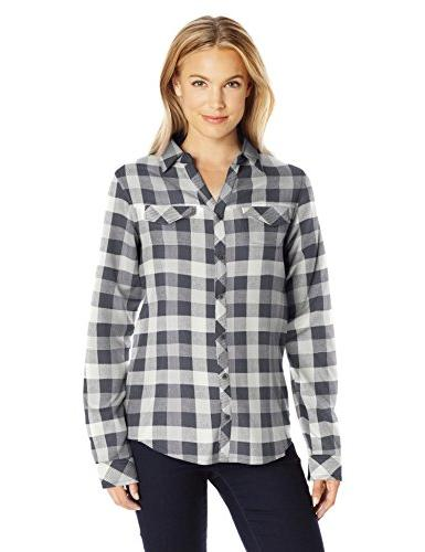 Columbia Women's Simply Put Ii Flannel Shirt, Shark Check, L