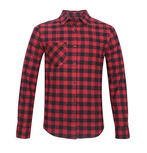 Deborri Men's Button Down Long Sleeve Plaid Flannel Shirt Re
