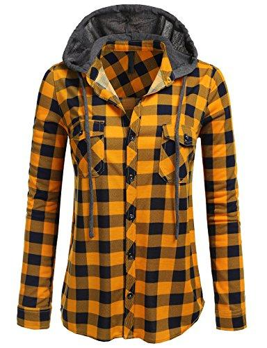 H2H Womens Casual Flannel Plaid Roll and Sleeves Shirt Top US M