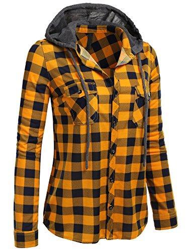 H2H Womens Casual Flannel Plaid Checker Button Down Roll Up