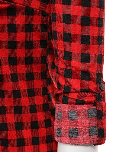 H2H Womens Casual Plaid Checker Down Roll and Long Sleeves Top M