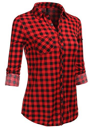 H2H Womens Casual Flannel Plaid Checker Button Down Roll Up