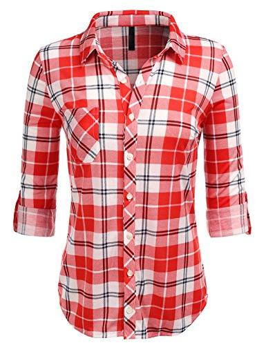 H2H Plaid Roll Sleeves WHITERED US S/Asia
