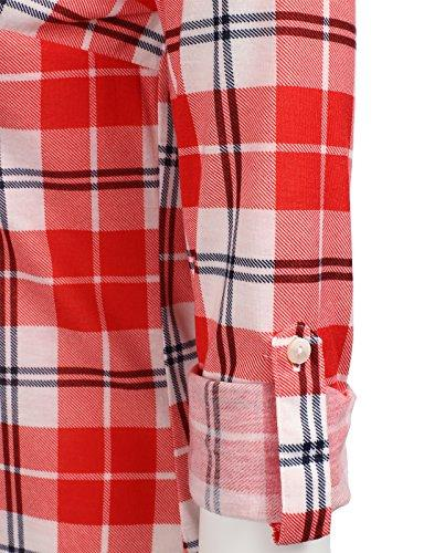 H2H Flannel Plaid Checker Button Roll Up Sleeves Shirt WHITERED US