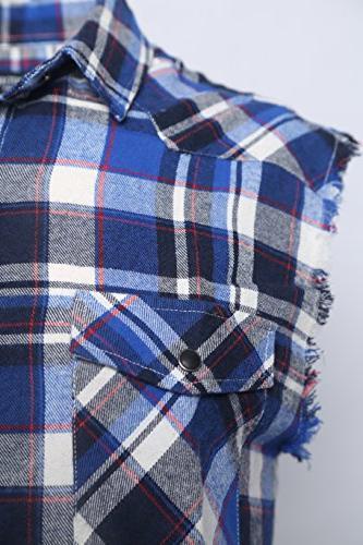 NUTEXROL Men's Plaid Shirt Plus Size Blue and M