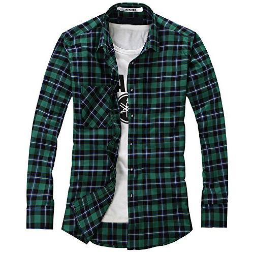 OCHENTA Men's Button Down Long Sleeve Plaid Flannel Shirt N1