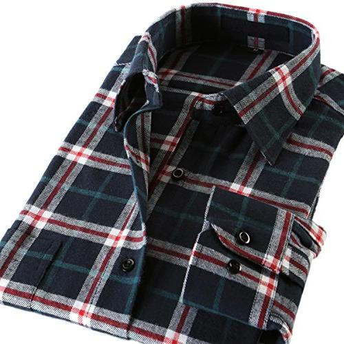 Pishon Plaid Long Slim Fit Shirt, Blue Size Size L
