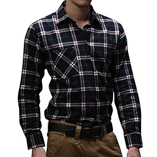 Pishon Men's Flannel Shirt Plaid Lightweight Long Sleeve Sli