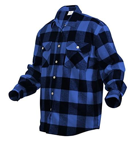 Rothco Weight Plaid Flannel Shirt, Blue, X-Large