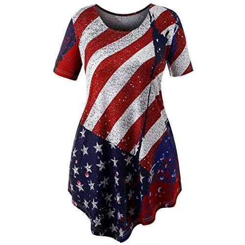 TOOPOOT Plus Size Women's American Flag Tank Short Sleeve