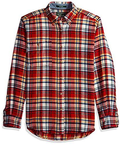 Woolrich Men's Trout Run Flannel Shirt, Ivory Tartan, Small