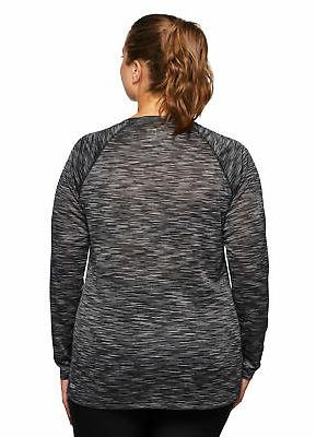 RBX Women's Plus Size Dye Long Sleeve V-Neck Shirt