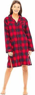 Alexander Del Rossa Women's Warm Flannel Sleep Shirt, Button