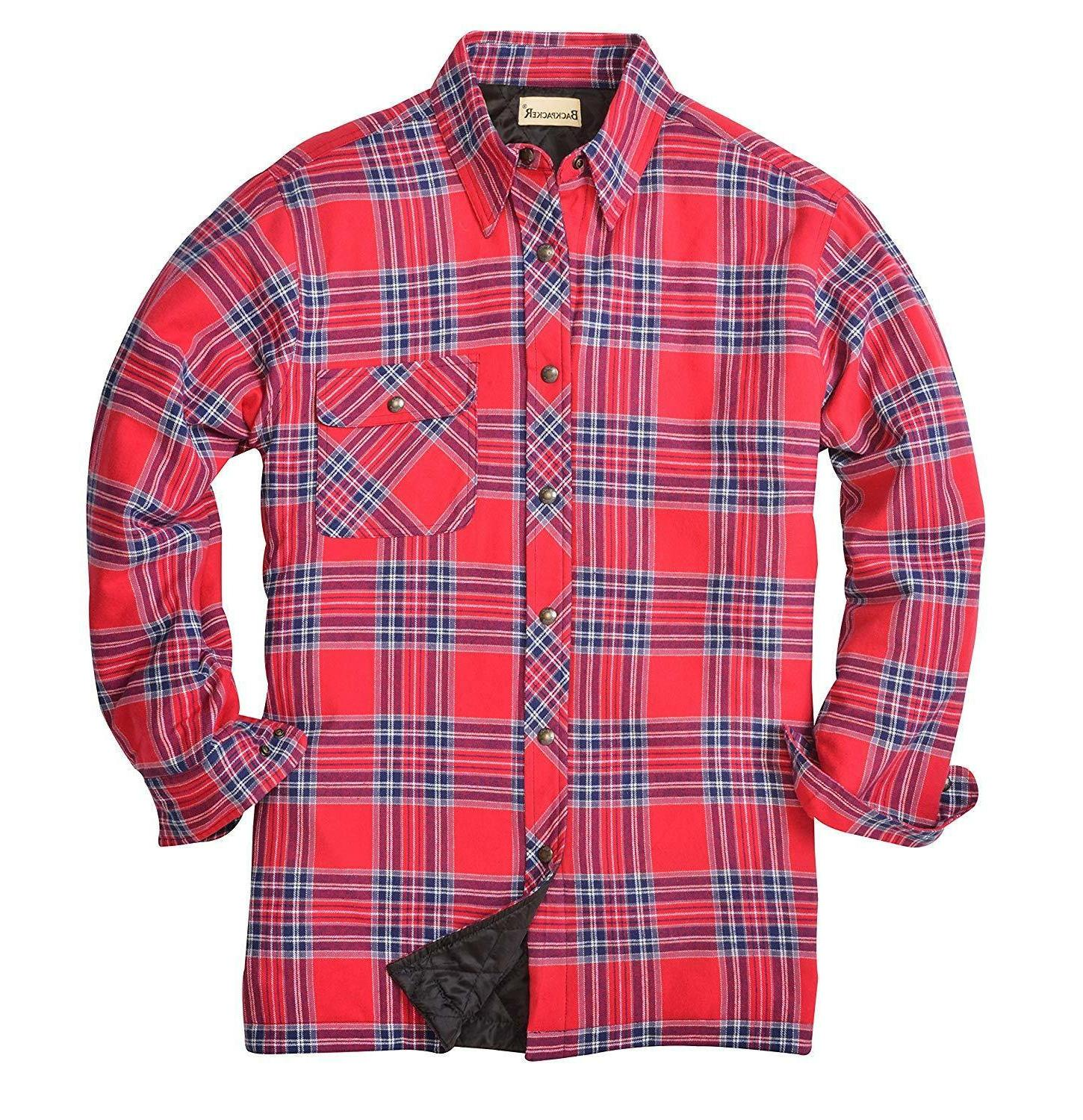 backpacker men s flannel quilt lined shirt